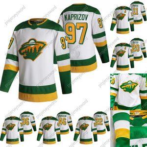 미네소타 야생 케빈 Fiala 2020-21 Revery Retro Hockey Jersey Kirill Kaprizov Mikko Koivu Zach Parise Jason 주커 라이언 Suter Devan Ducknyk