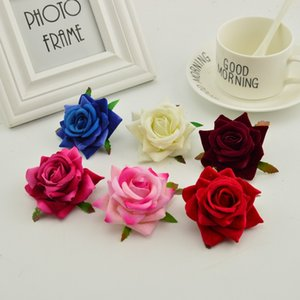 100pcs silk roses head DIY needlework wreaths hat flower red pink white blue artificial flower cheap for home wedding decoration Y1128