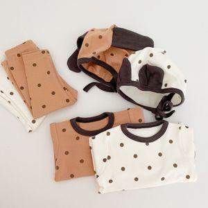 3pcs Set Baby Sleeping Clothes Long Sleeve Dot Romper+Pants+Hat Newborn Baby Boys Girl Sleepwear Pijamas Set Infant Sleep Suit C1118