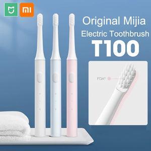 Xiaomi Mijia T100 Sonic Smart Spazzolino elettrico Spazzolino da denti cordless impermeabile a due velocità Tesoro di pulizia profonda a due velocità con teste di pennello