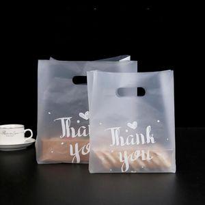 Merci Plastic Gift Sac Tissu Sac de stockage Sac à provisions avec poignée Party Mariage Plastique Candy Gâteau Sacs d'emballage BWD3222