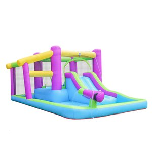Family Yard Inflatable Big Pool House Kids Jumper Jump Bouncy Castle Slide w  Water Gun & CE UL Blower Person use Fun in Garden