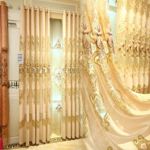 European-style Sunil Large Hollow Water-soluble Embroidery Curtains for Living Dining Room Bedroom.