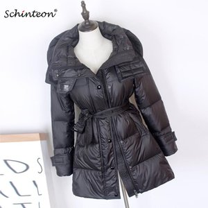 Schinteon New Women Down Jacket 90% White Duck Down Outwear Hood With Belt Winter Autumn Slim Coat Fashion Top Quality