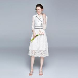 Banulin Fashion Designer Runway Dress Frühling Sommer Damen gekerbte Kragen Weiße Spitze Stickerei Midi Kleider Hohe Qualität