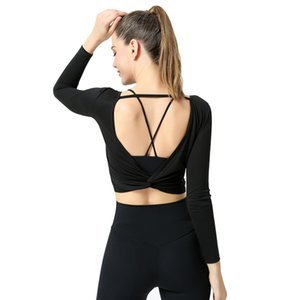 Pure color fitness Barbie yoga clothes wear feminine V-shaped backless sports dress for women long sleeve sportswear