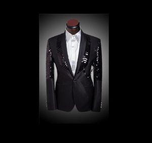 Nuovo arrivo Uomo Slim Fit Suit Abiti da uomo con pantaloni Black Sequin Blazer Giacca Blazer Blazer da sposa Tuxedos Abiti da uomo