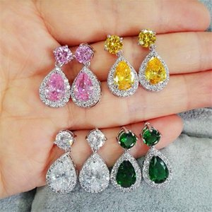 Pear Cut Crystal Drop Earrings For Women 925 Silver Color White Yellow Pink Green Blue Stone Teardrop Earrings Vintage Jewelry