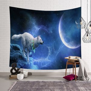 Wall tapestry moon and starry sky landscape digital printing lanyard bedroom bedside decoration background cloth