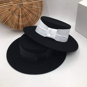 In Europe and the British flat top hat black wool hat Sir joker fashion Fedora Panama