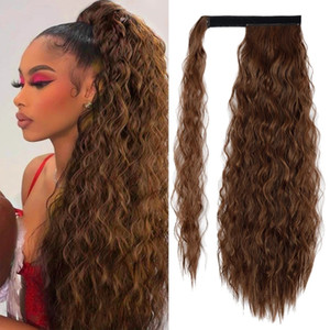 Brown Mais Wavy Long Ponytail Haartilder Wrap auf Clip Haarverlängerungen Ombre Braun Pony Schwanz Menschenhaar 140g