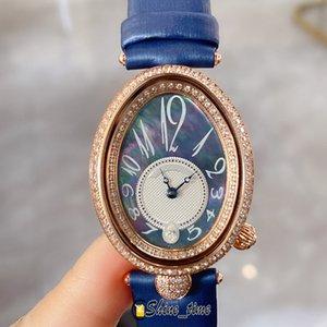Barato para la alta calidad Reine de Naples 8918BR Madre natural Oyster Dial Diamond Case Steel Movimiento de cuarzo Relojes de lady Reloj de cuero Strap Watch