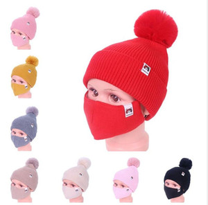 2021 Kids Winter Warm Beanies Ski Outdoor Girls Knitted Beanie Cap Hats with Face Mask 2 Piece suit Cycling Sport Slouchy Headwear E112306