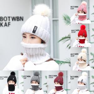 Örme Bobble Şapka Eşarp Seti B Dekorasyon Katı Renk Kadın Kasketleri Elastik Peluş Kış Sıcak Lady Gömme Kap Moda 9 8cg G2