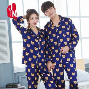 Lovers Pyjamas Full Sleeve Silk Satin Pajama Cartoon Bear Couple Pajamas For Women Sleepwear Sets Pijama Mujer XXXL Q1201