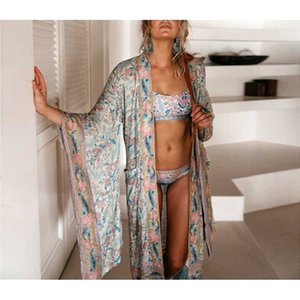 Boho Spring Summer Floral Loose Casual kimono Sleeve beach top Open Front maxi Kimono Tie Belt shirt blouse beach women Y200402