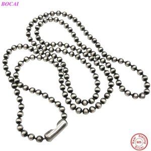 BOCAI s925 sterling silver necklace Thai Silver retro simple necklace 925 silver necklace sweater chain for men and women Z1126