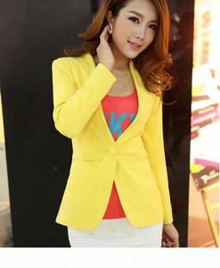 Autumn Women Blazers And Jackets Candy Color Jacket Long Sleeve Slim Suit One Button Women Jacket coat big Size S-2XL Blazer