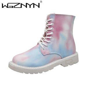 WGZNYN 2021 Herbst Frauen Schuhe Lederstiefel Frau Mode Motorrad Stiefel Flache Schuhe rutschfeste warme Plattform Frauen