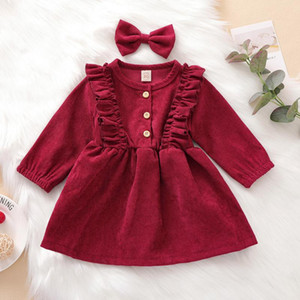 Pudcoco Toddler Baby Girl Clothes High-Waist Midi Long Sleeve Round Collar Ruffle Buttons Princess Pleated Fall Dress Headband