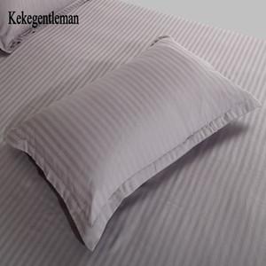 Kekentleman 2 PCS / LOT 48 * 74cm Funda de almohada, cubierta de almohada de rayas de algodón 100%, funda de almohada en color sólido y200104