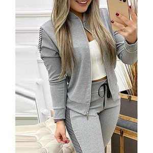 Two Piece Set Zipper Fitness Sportswear Tracksuit Black Gray Yoga Sets Women Gym Clothes Female Outfit Running Suits 2020 New