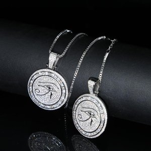Luxury Large Big Round Evil Eye Charm Pendant Necklace With Box Chain Paved Women Iced Out Hip Hop Long Necklace Jewelry
