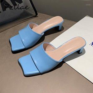 Pzilae Verano Mullas de mujer Plaza Plaza 2020 Moda Elegante Toe Square Toe Slight Tobides Ladies Outdoor Ocio Zapatillas Blue1