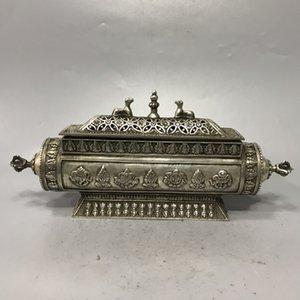 Collection Folk Art Vintage Oriental Rare Old Chinois Tibétain Silver Sculpté Huit Burneur d'encens des trésors