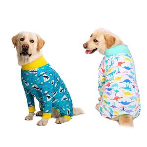 Dinosaur المطبوعة الكلب بذلة للكلاب فتاة / صبي متوسطة كبيرة الكلب منامة الكلب الملابس زي الملابس قميص هوندين كليبينغ LJ201130