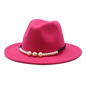 Pérola larga borda chapéus mulheres chapéu formal mulher jazz top chapéu panama boné senhora feltro fedora bonés meninas outono inverno moda acessórios novos
