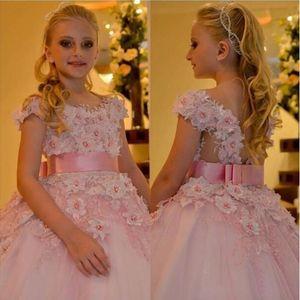Blush Pink 2020 Arabic Flower Girl Dresses 3D Floral Appliques Pearls Child Wedding Dresses Vintage Little Girl Pageant Dresses