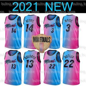 2021 Nuevo MiamiCalorJersey Tyler 14 Herro Dwayne 3 Wade Jimmy 22 Butler Dwyane Goran 7 Dragic Bam 13 Adebayo Robinson