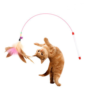 Wire Funny Cat Stick Toys Play Games with Cats Steel Wire Training Cats by Feathers and Bells Pet Feather Toys YHM766