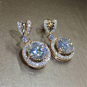 Bowknot 18K Rose Gold Diamond Dangle Earring Original 925 sterling silver Jewelry Party Wedding Drop Earrings for Women Bridal Y1130