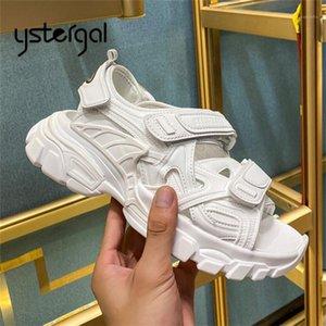 Yustergal белые женщины сандалии толстые нижние платформы обувь женщина вскользь за пределами кроссовки удобные сандалии Летние тренеры1