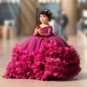 Puffy fuchsia Flower Girls Dresses 3D Flower V Neck Long Sleeve Kids Teens Pageant Gowns Birthday Party Dress For Wedding