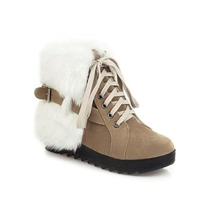 KMEIOO Otoño e invierno Botas de mujer Botas de nieve Botas de nieve Lace Up Plataforma Zapatos de mujer Piel dulce Piso Cálido