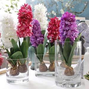 Artificial Flower Hyacinth With Bulbs Ceramics Silk Flower Simulation Leaf Wedding Garden Decor Home Table Accessorie Plant 1pc