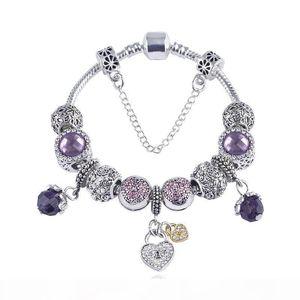 K New Mixed Style Charm Bracelet 925 Silver Bracelets For Women Vintga Bracelet Purple Crystal Beads Diy Fashion Jewelry For Christmas