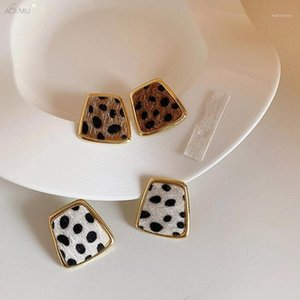 AOMU 2020 Vintage Geometric Leopard Pattern Metal Small Stud Earrings For Retro Women Fashion Party Jewelry Gifts1