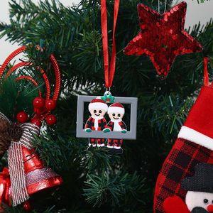2020 Christmas Love Family Pendant Photo Frame DIY Name Benediction Ornament Xmas Tree Hanging Pendants Party Decoration DHA2056