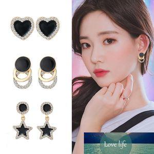 Korean Cute Earrings Heart Bling Zircon Stone Rose Gold Stud Earrings for Women Fashion Jewelry New Gift