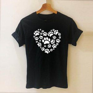 Dog Cat Paw Heart Love Aniaml Harajuku T Shirt Funny Teeshirt Women Clothing Short Sleeve Cotton Tops Tees DropShipping