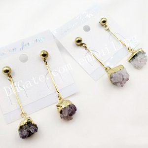 30Pairs Natural Amethyst Rough Druzy Gemstone Stud Earrings Gold Silver Plated Irregular Amethyst Geode Drusy Crystal Cluster Stud for Women