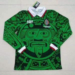 1998 Retro Edition Mexico Soccer Jersey Manica lunga Breve 1998 Coppa del Mondo Camicia da calcio Messico Camicia da calcio Blanco Hernandez Uniformi di calcio