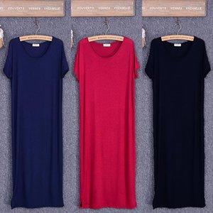 2020 Summer Black Dress Women O neck Knee Length Short Sleeve Solid Side Cut Casual Modal Cotton Home Dresses Size S M