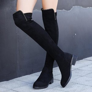 2020 new over-the-knee elastic boots European American mid-heel rider boots thick heel velvet retro womens designer