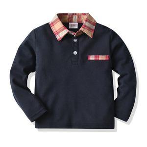 Boy's T-shirt Long Sleeve Polo Collar Children T-shirt Fashion Classic Spring Autumn Kids T-shirt Pullover