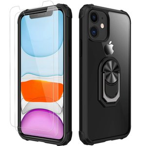 Clear Crystal with Car Mount Kickstand for iPhone 12 11 ProMAX Xs Max 12mini XR SE 2020 8 Case with Tempered Glass Screen Protector [2 Pack]